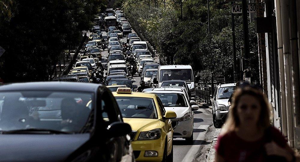Μποτιλιάρισμα σε κεντρικό δρόμο της Αθήνας