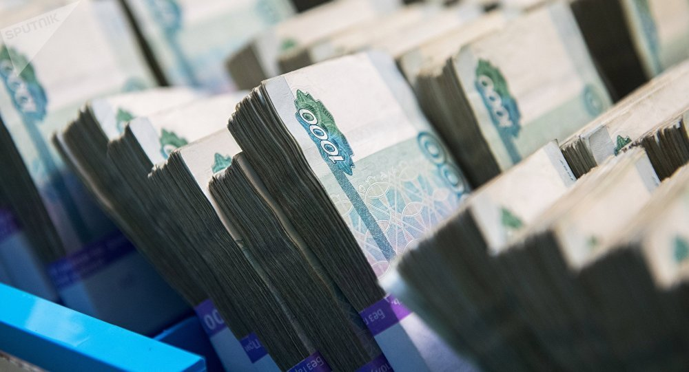 Χαρτονομίσματα σε παλέτες της κεντρικής τράπεζας της Ρωσίας