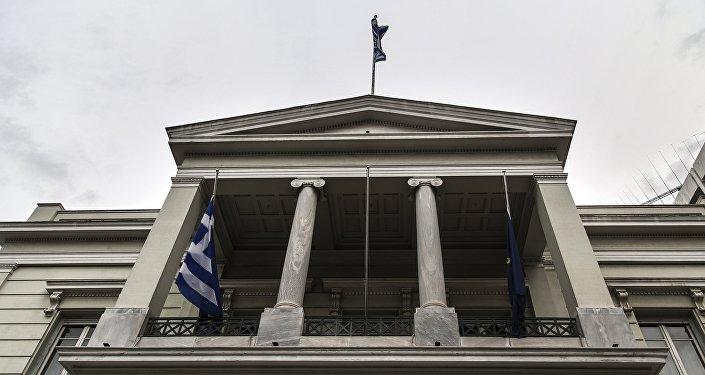 Η πρόσοψη του κτιρίου του ελληνικού υπουργείου Εξωτερικών