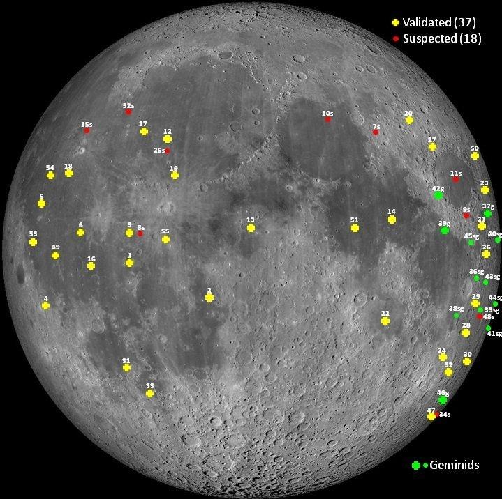 Οι επιβεβαιωμένες και οι υποψήφιες εκλάμψεις στην επιφάνεια της Σελήνης
