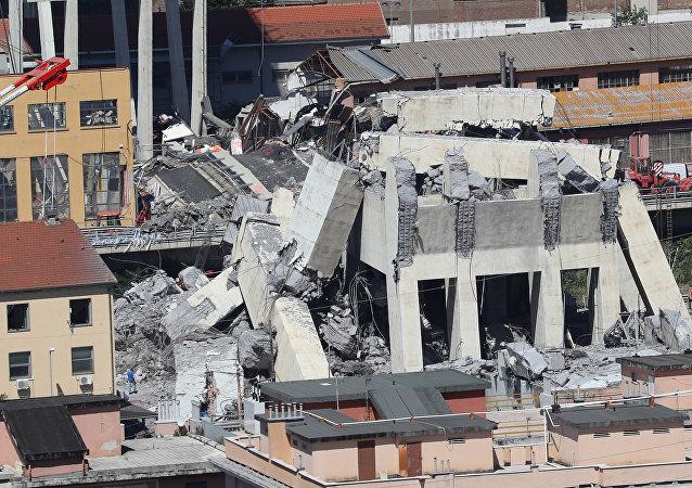 Η γέφυρα που κατέρρευσε στη Γένοβα