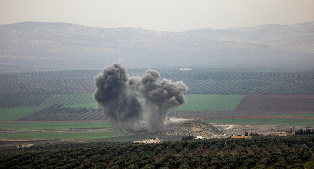 Βομβαρδισμός στην περιφέρεια του Ιντλίμπ στη Συρία τον Φεβρουάριο του 2018